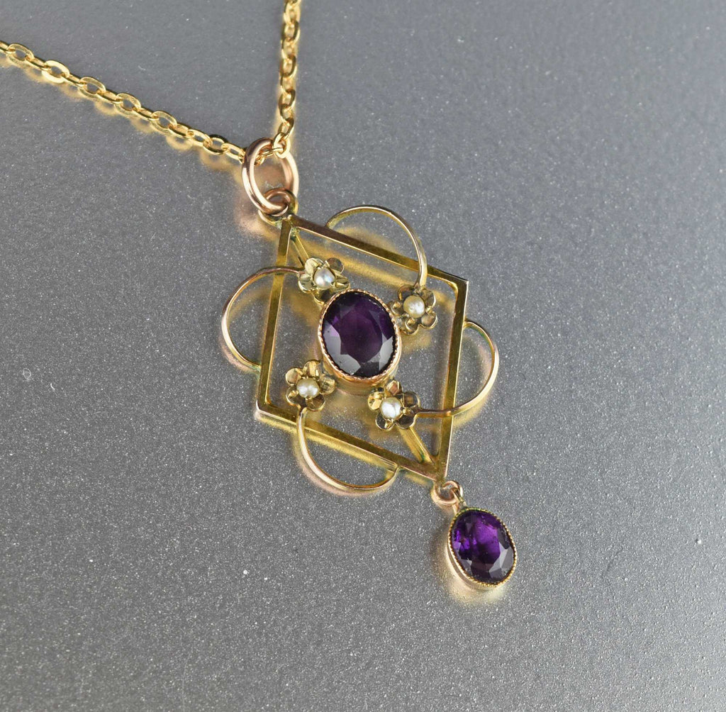 English Gold Amethyst Lavaliere Necklace,C.1900 - Boylerpf