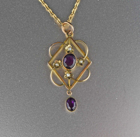 English Gold Amethyst Lavaliere Necklace,C.1900