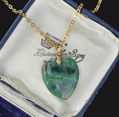 Natural Jade Heart Necklace 10K Gold