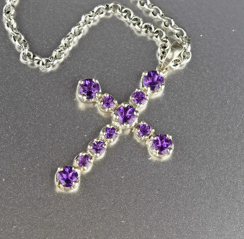 Vintage Amethyst Silver Cross Necklace
