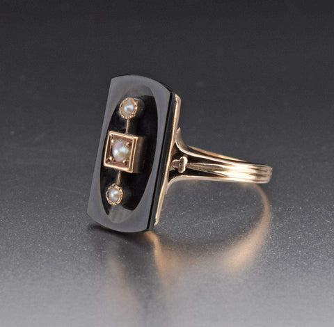 Victorian 14K Rose Gold Pearl Onyx Ring