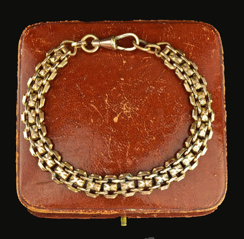 Edwardian Rose Rolled Gold Watch Chain Bracelet