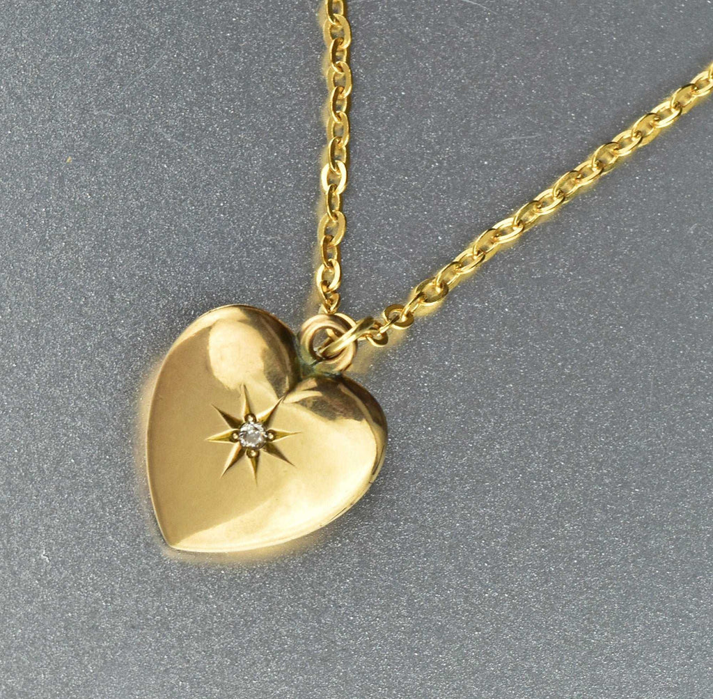 Vintage 10K Gold Diamond Heart Locket - Boylerpf