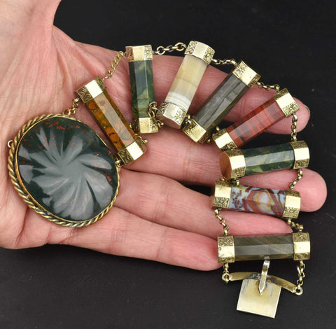 Antique Scottish Agate Bracelet Bloodstone Clasp