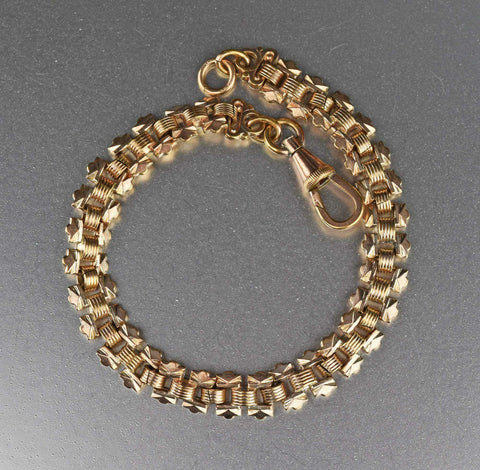 Antique Gold Silver Engraved Book Chain Bracelet 1800s