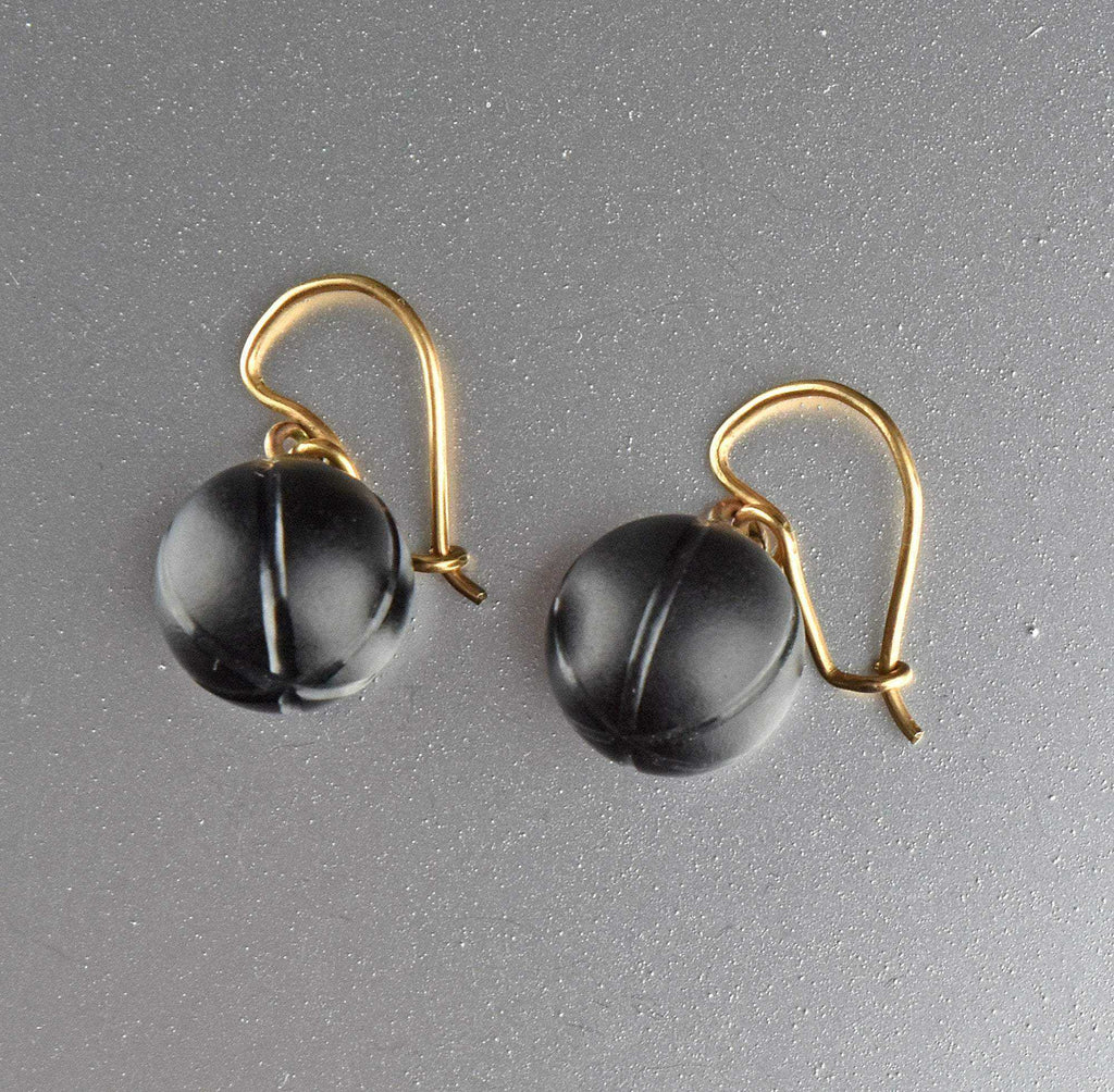 Black Antique Victorian Whitby Jet earrings - Boylerpf