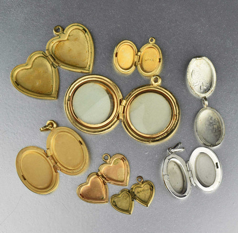 Vintage Gold & Silver Heart Locket Lot (8)