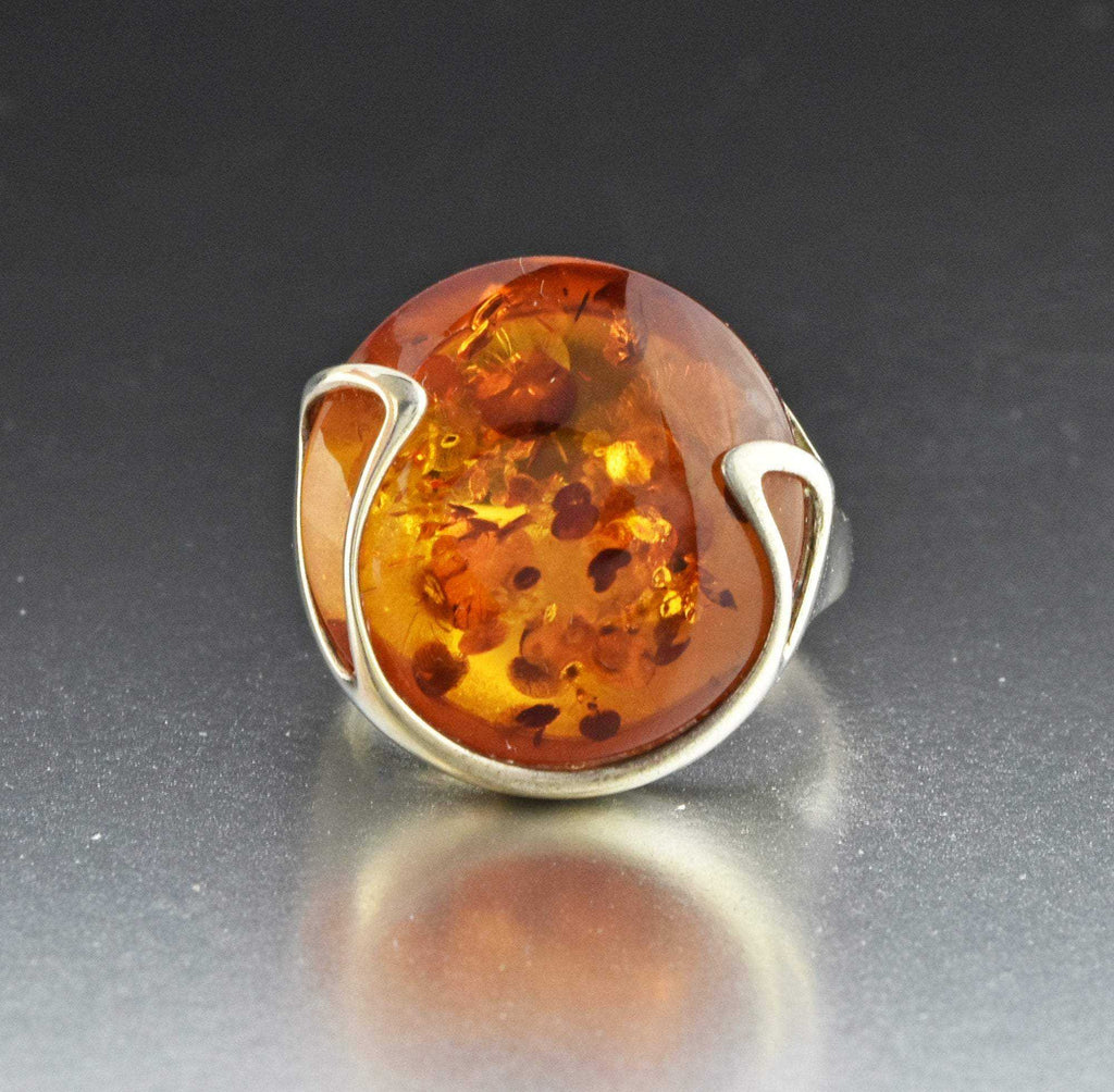Vintage Silver Russian Baltic Amber Ring - Boylerpf