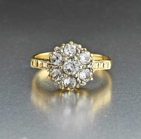White Sapphire Multi Stone Gold Flower Cluster Ring