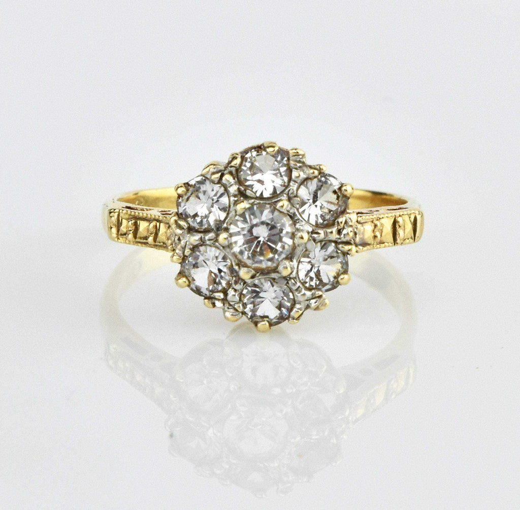 White Sapphire Multi Stone Gold Flower Cluster Ring - Boylerpf