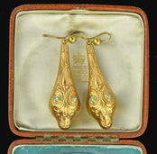 Egyptian Revival Gold Turquoise Snake Earrings