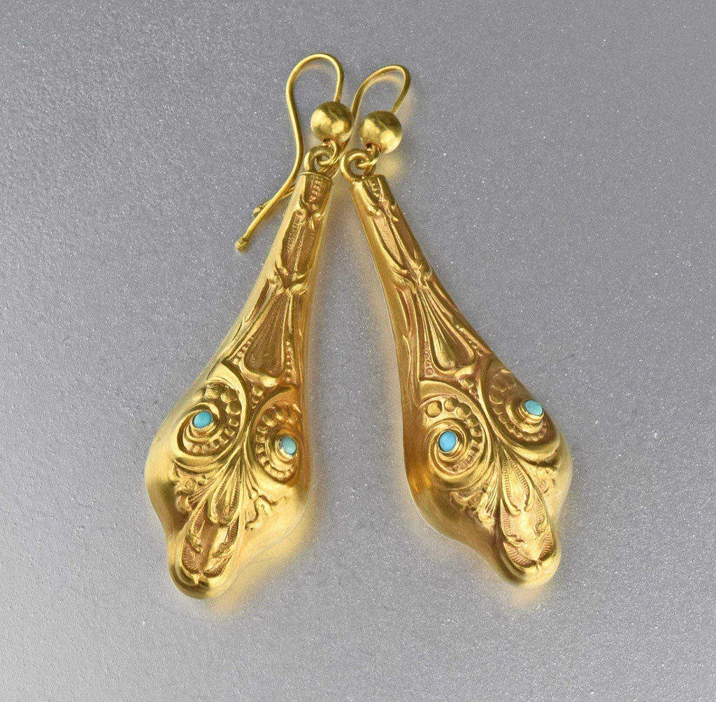 Egyptian Revival Gold Turquoise Snake Earrings - Boylerpf