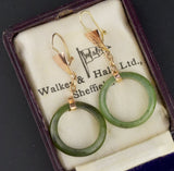 18K Gold Vintage Jade Hoop Earrings - Boylerpf
