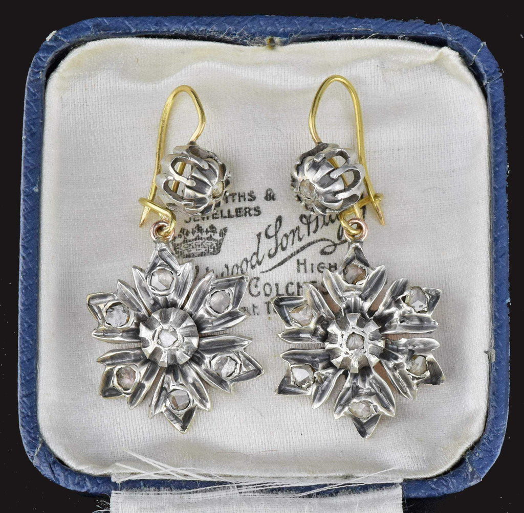 Vintage Antique Rose Cut Diamond Earrings,Georgian - Boylerpf