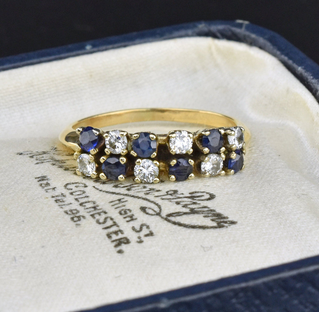 14K Gold Diamond Sapphire Eternity Band Ring - Boylerpf
