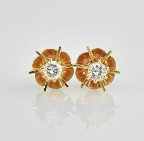 14K Gold Vintage Diamond Stud Earrings .20 CTW