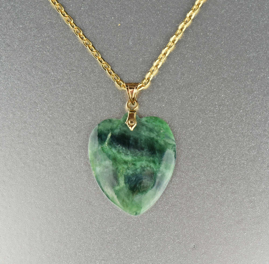 Natural Jade Heart Necklace 10K Gold - Boylerpf