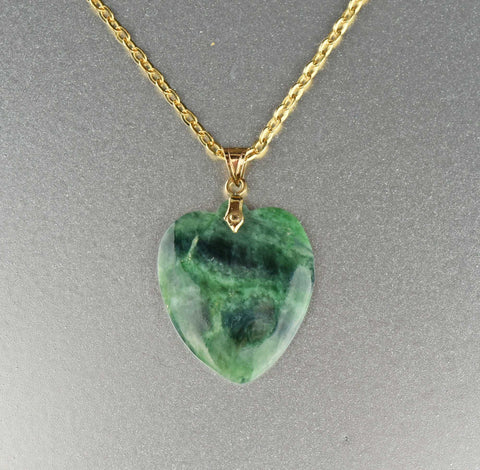 14K Gold Vintage Jade Heart Pendant necklace