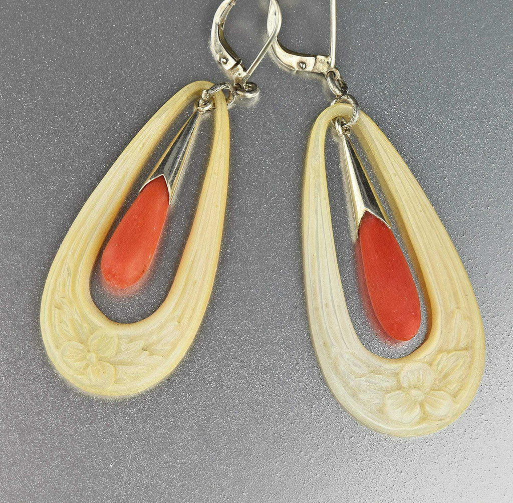 Victorian Pearl Natural Coral Shell Earrings - Boylerpf