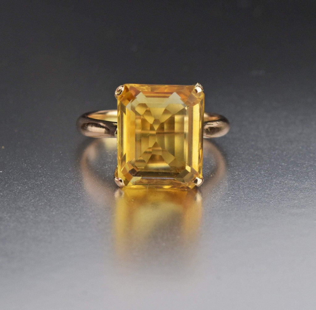 14K Rose Gold Vintage Citrine Ring - Boylerpf