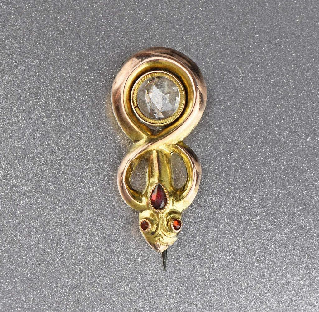 Victorian Locket Diamond Snake Brooch - Boylerpf