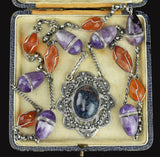 Heavy rock Crystal Amber Sodalite Amethyst Necklace - Boylerpf