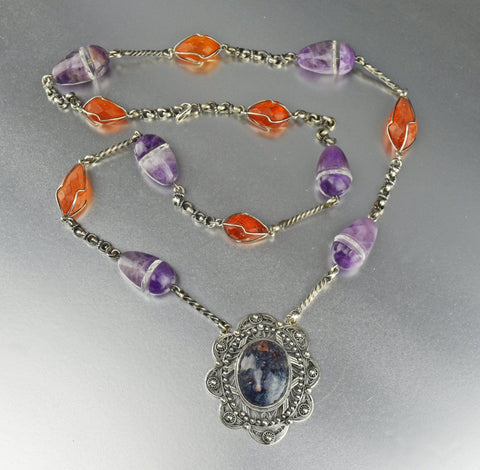 Heavy rock Crystal Amber Sodalite Amethyst Necklace