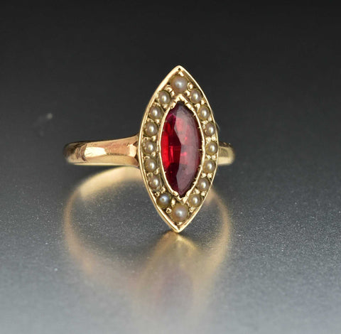 Victorian 14 K Gold  Pearl Ruby Ring