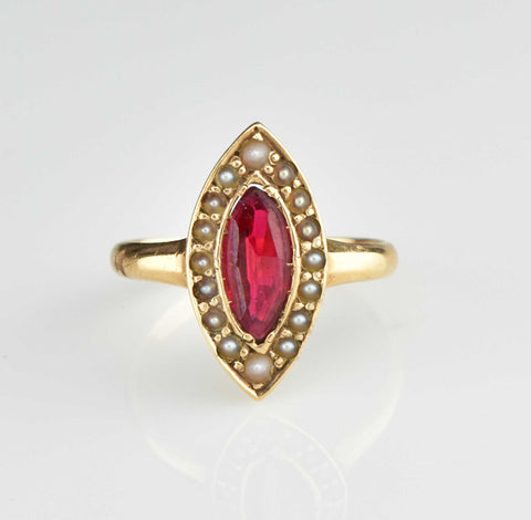 English Gold Pink Tourmaline Solitaire Ring, Size 9