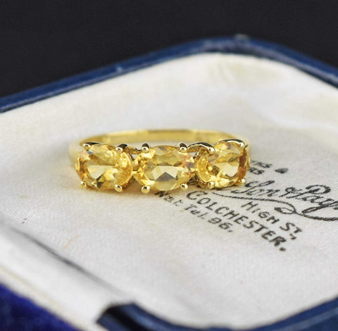 Gold Three Stone Citrine Ring
