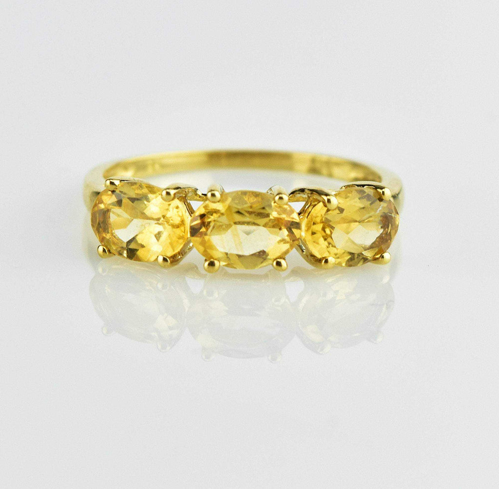 Gold Three Stone Citrine Ring - Boylerpf
