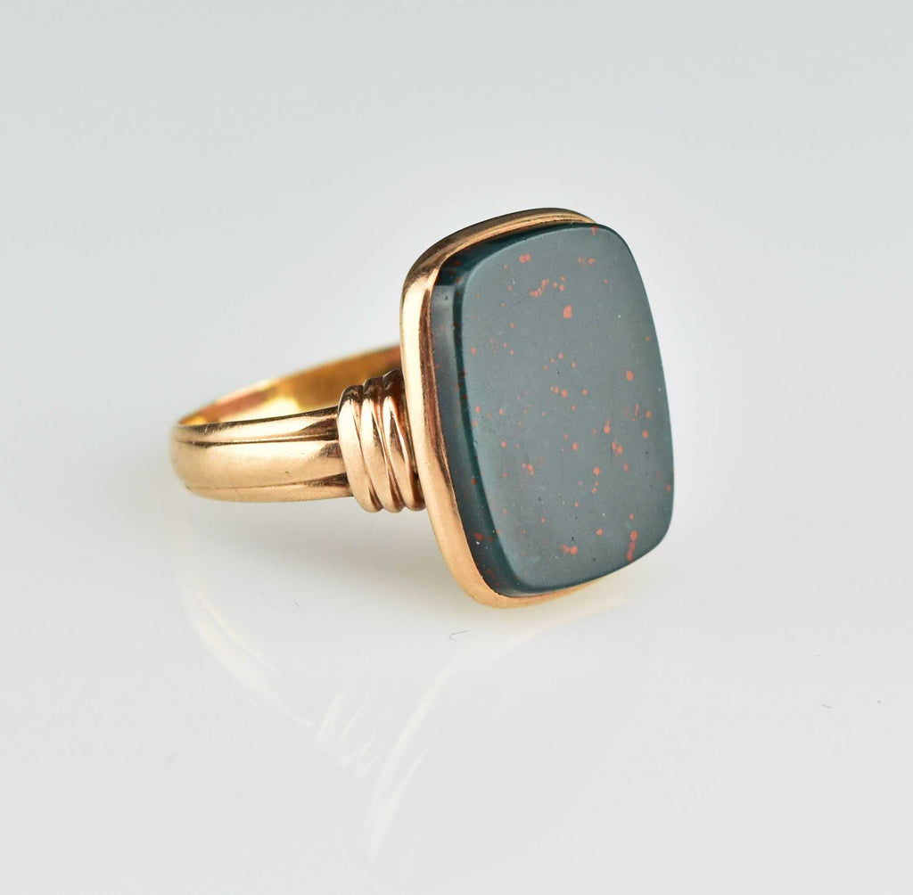 Victorian 14K Rose Gold Bloodstone Ring - Boylerpf