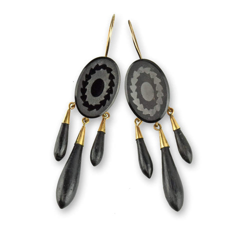14K Gold Victorian Onyx Girondale Earrings, Civil War