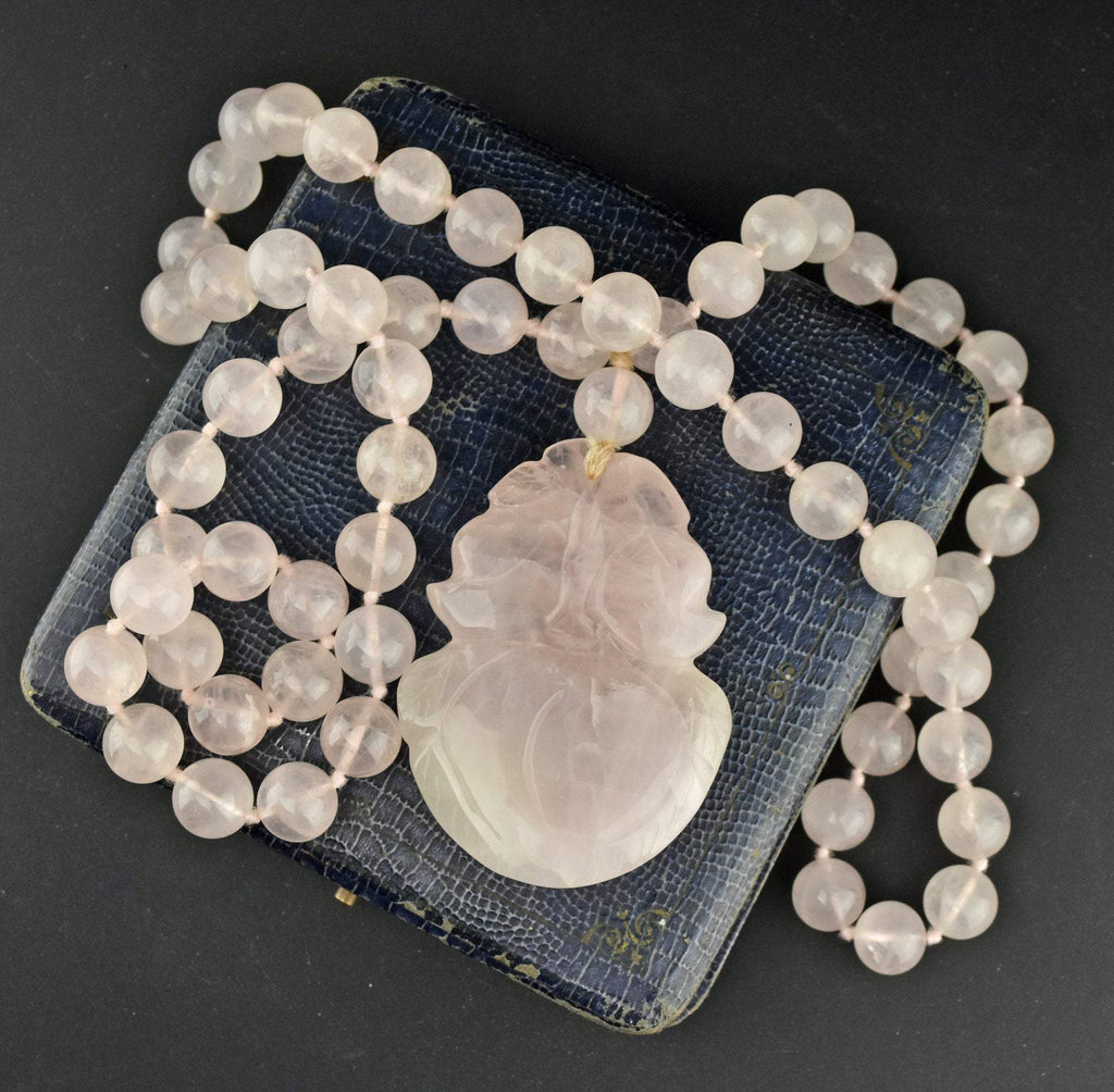 Hand Knotted Vintage Rose Quartz Necklace - ON HOLD - Boylerpf