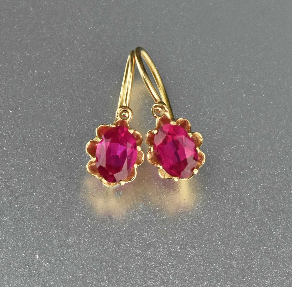 Antique Edwardian 14K Gold Ruby Earrings - Boylerpf