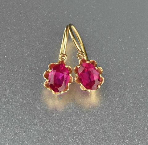 Antique Edwardian 14K Gold Ruby Earrings