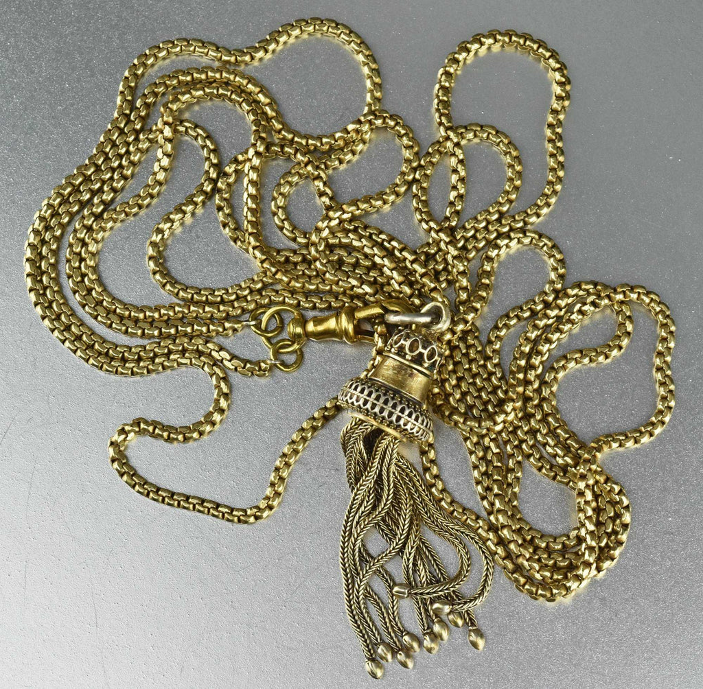 Victorian Muff Guard Chain with Tassel Fob - Boylerpf