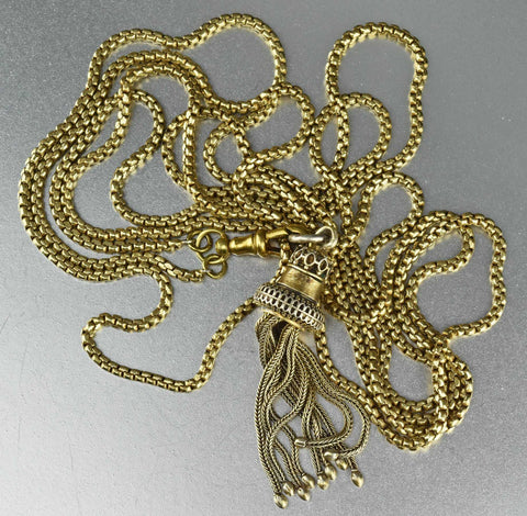 Victorian Muff Guard Chain with Tassel Fob