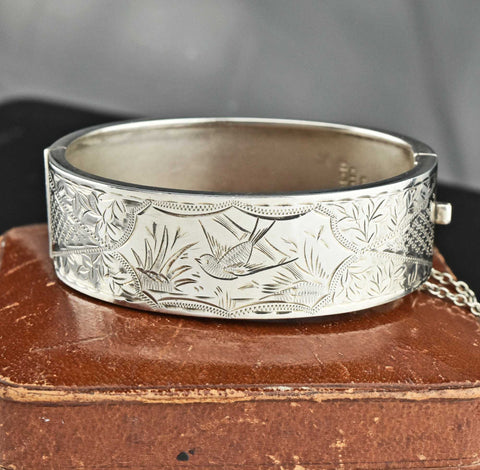 Swallow Engraved Art Deco Bangle Bracelet