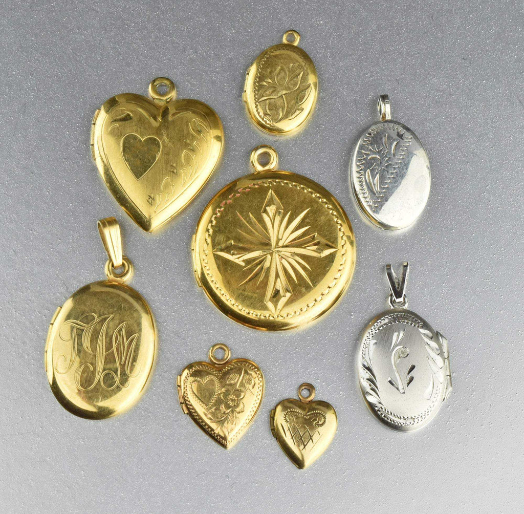 Vintage Gold & Silver Heart Locket Lot (8) - Boylerpf