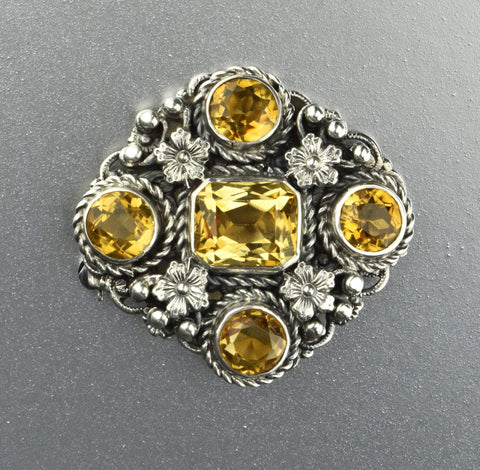 Edwardian Diamond Heart Flower Brooch GIA Cert.