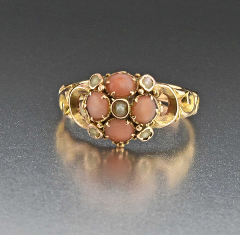 Victorian 15K Gold Pearl Coral Ring, Secret Locket