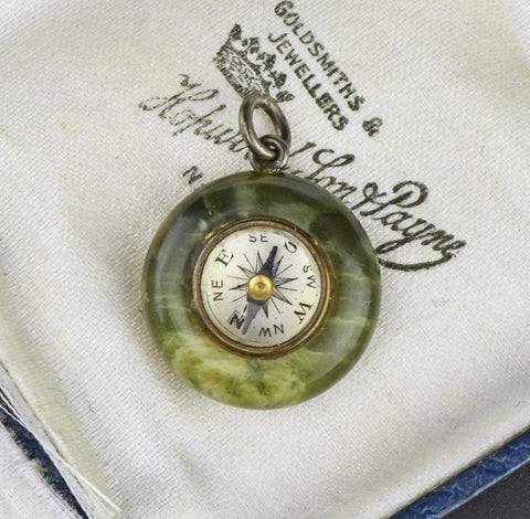 Antique Watch Fob Compass Pendant,Green Agate Pendant