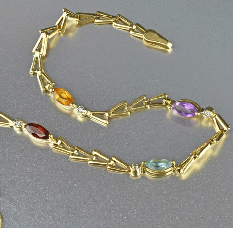ON HOLD Vintage 14K Gold Gemstones Bracelet