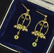 Gold Victorian Pearl and Peridot Drop Earrings