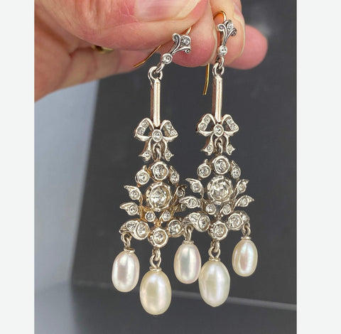 9K Gold & Silver Paste Pearl Chandelier Earrings