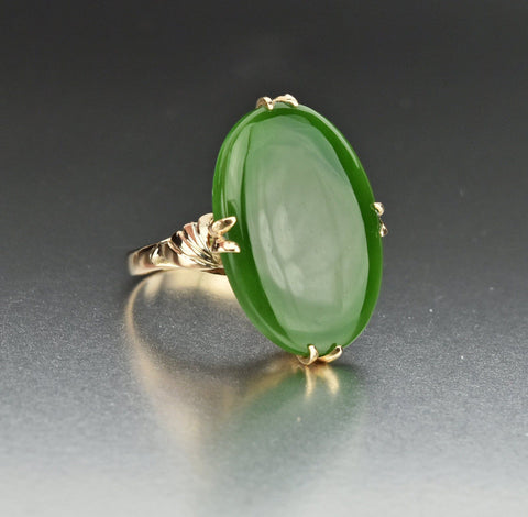 14K Gold Vintage Green Jade Cabochon Ring