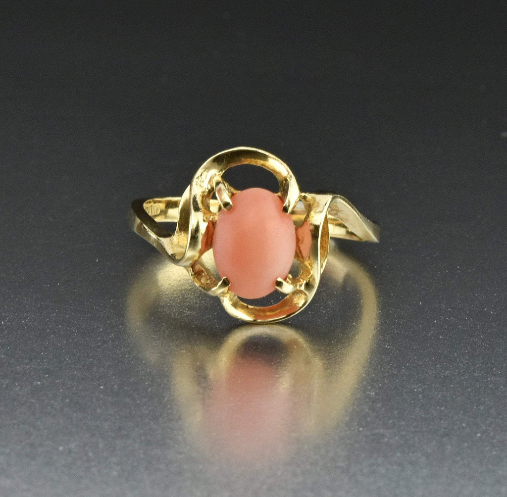 14K Gold Natural Gemstone Coral Ring - Boylerpf