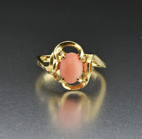 14K Gold Natural Gemstone Coral Ring