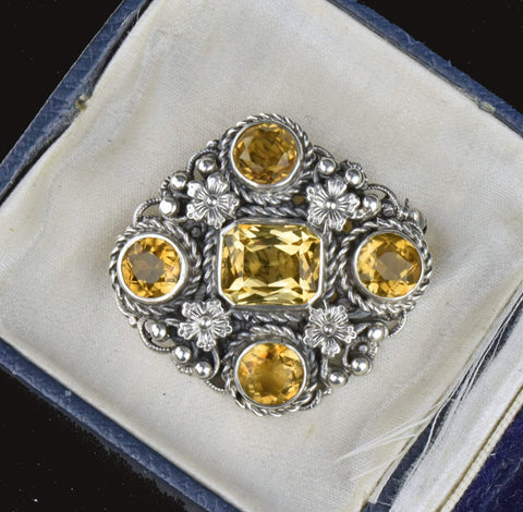 Antique Austro Hungarian Golden Citrine Brooch